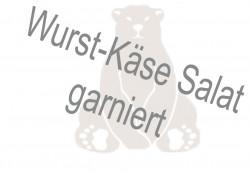 Wurst-Käse Salat garniert